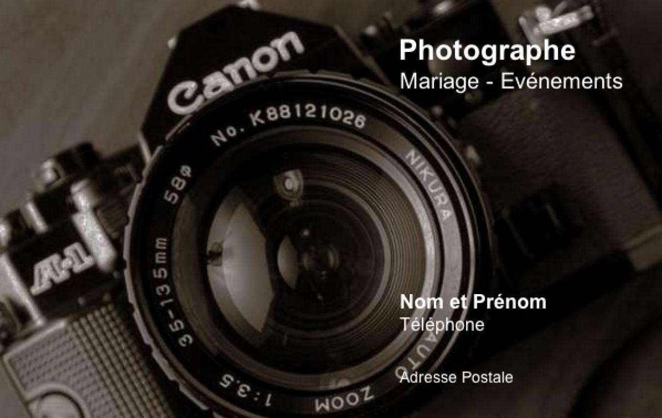 Bien-aimé Carte de visite Photographe ⇒ Modèle Gratuit à imprimer, fond sombre FV29