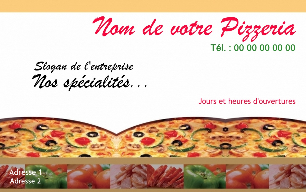 Pizzeria Carte De Visite Restauration Pas Chere Modele Italien A Personnaliser En Ligne
