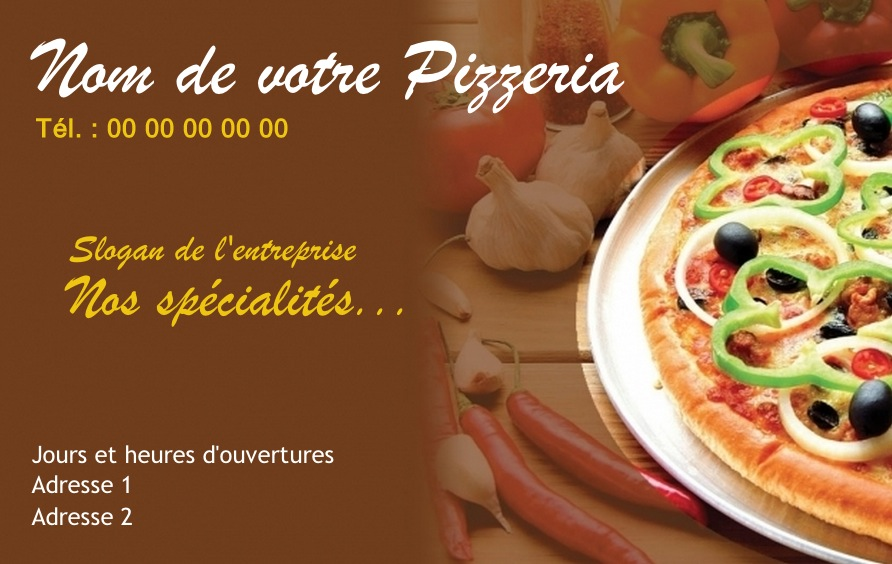 Exemple Carte De Visite Pizzeria Pour Service Restauration Cuisinier Livraison Pizza A Domicile Modele Gratuit Personnaliser En Ligne Fond Photo