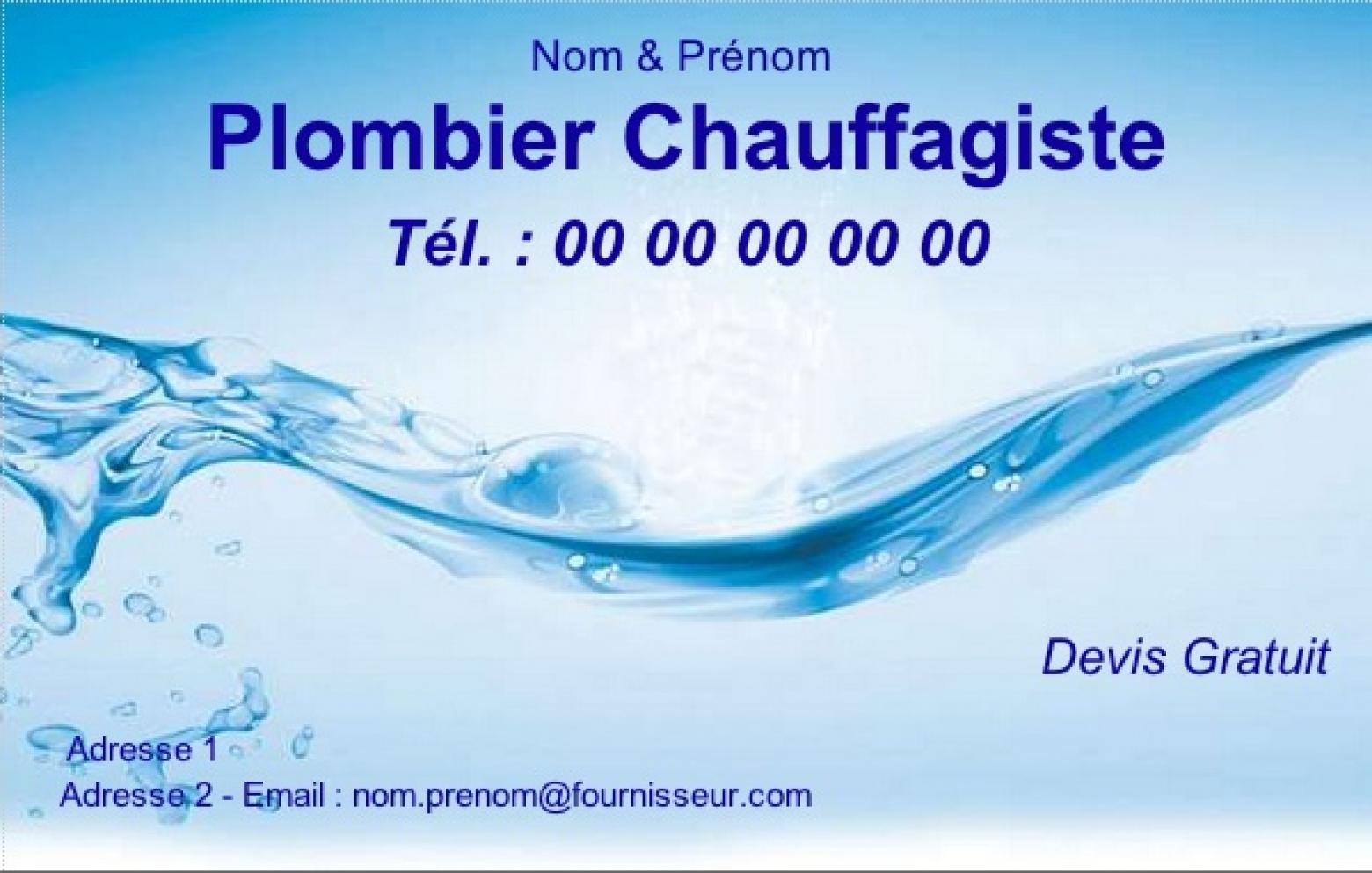 Plombier Exemple Carte De Visite Chauffagiste Modele Gratuit A Personnaliser En Ligne Pas Chere