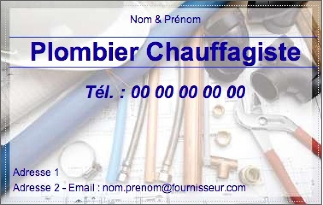 Modele Carte De Visite Plombier Chauffagiste Exemple A Personnaliser En Ligne Pas Chere