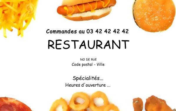 Carte de visite restaurant mod le gratuit imprimer fast food - Carte de visite gratuite sans frais de port ...