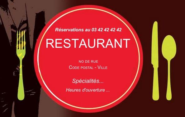 Restaurant Carte De Visite Restauration Pas Chere Modele Assiette A Personnaliser En Ligne