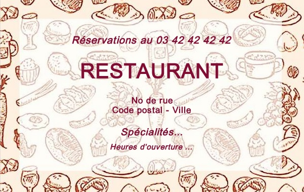 Populaire Carte de visite Restaurant | Modèle gratuit à imprimer | Motif NV37