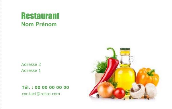Carte de visite restaurant mod le gratuit imprimer - Impression photo gratuite sans frais de port ...