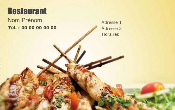 Restaurant Carte De Visite Restauration Pas Chre Modle Brasserie Personnaliser En Ligne