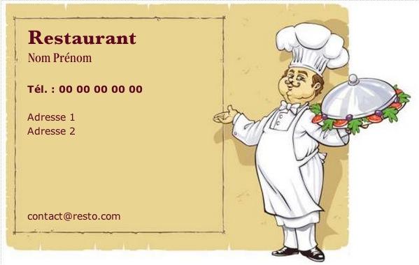 Carte de visite restaurant mod le gratuit imprimer cuistot - Carte de visite gratuite sans frais de port ...