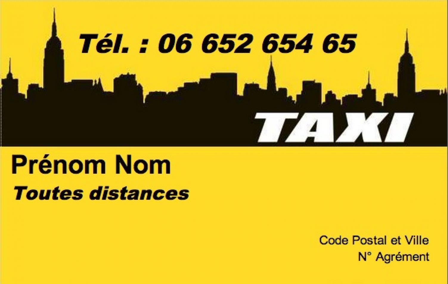 Carte de visite taxi mod le gratuit imprimer fond jaune ville - Carte de visite gratuite sans frais de port ...