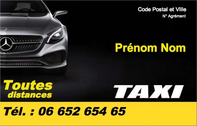 Carte de visite taxi mod le gratuit imprimer noir bandeau jaune - Carte de visite gratuite sans frais de port ...