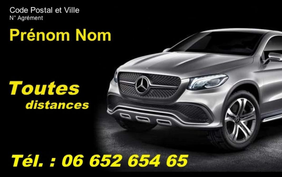 Taxi VSL Modele Carte De Visite Chauffeur Pas Cher Professionnel Gratuit A Personnaliser Et Telecharger