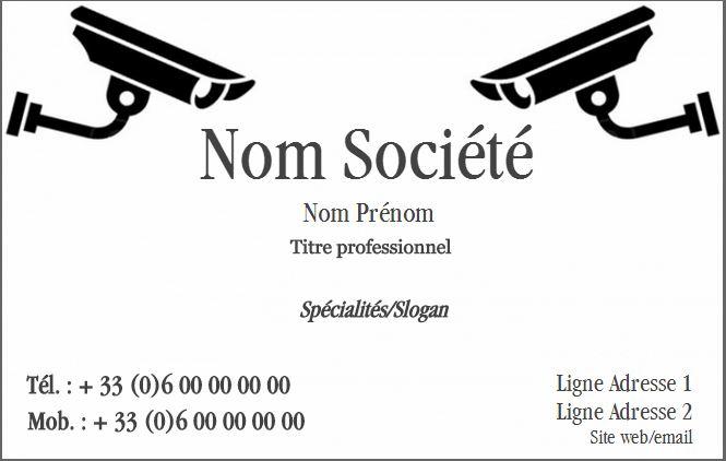 Societe De Securite Exemple Carte Visite A Personnaliser En Ligne Pas Chere