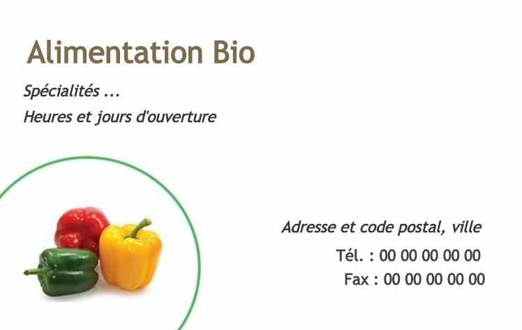 Impression Pas Cher Personnalisez Votre Carte De Visite Gratuitement Modele Alimentation Saine Biologique