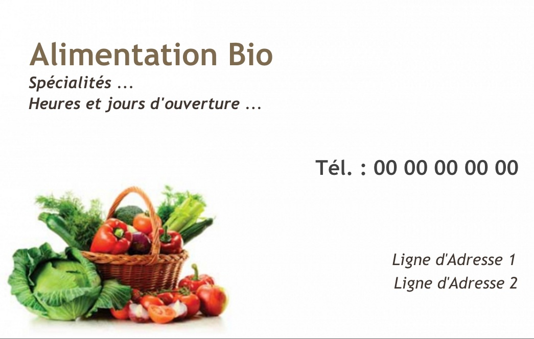 Commerce Alimentaire Alimentation Biologique Carte De Visite A Personnaliser Modele Gratuit En Ligne Impression Pas Cher
