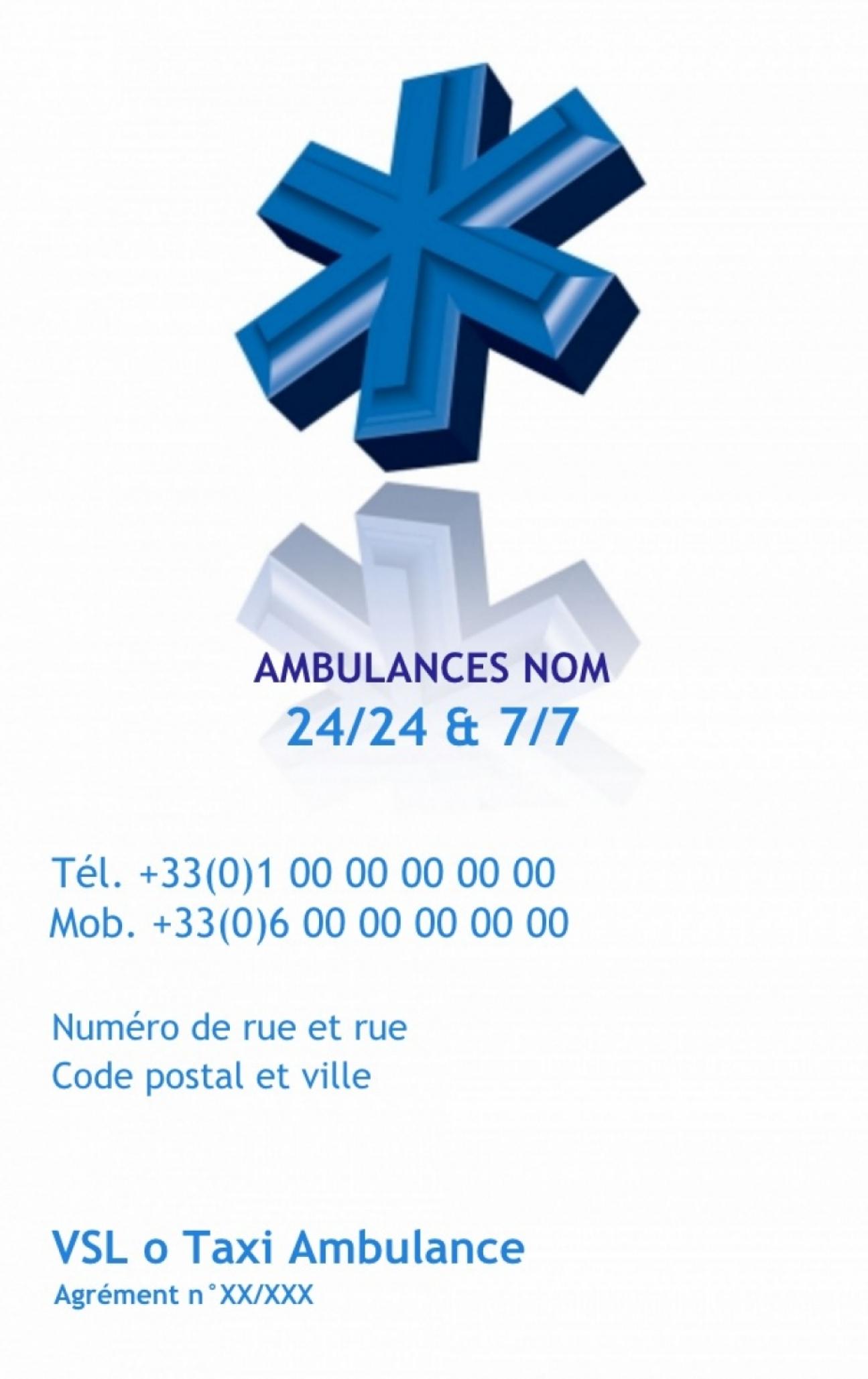 Ambulancier Carte De Visite Ambulance Professionnel Sant Exemple Pas Cher Avec Modle En Ligne Gratuit Imprimer Chez Soi