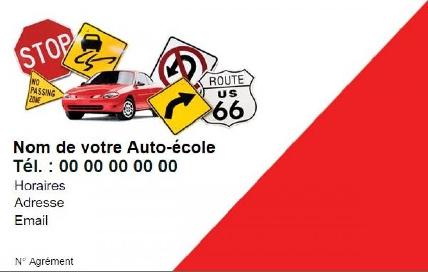 Modele Auto Ecole Exemple Carte De Visite Pas Cher A Personnaliser En Ligne Gratuitement Imprimer Chez Soi Panneaux Signal