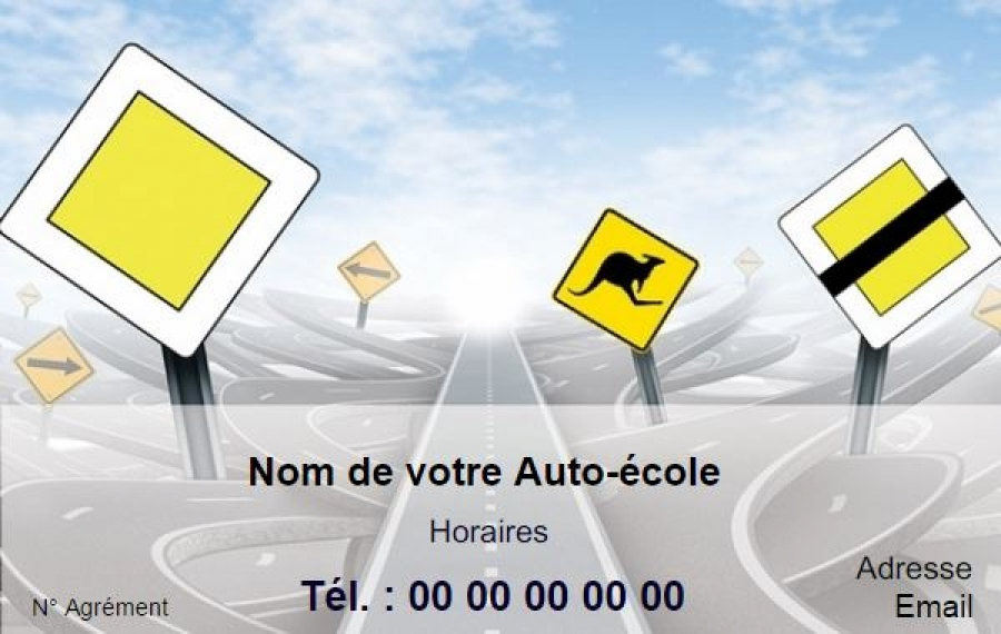 Modele Auto Ecole Exemple Carte De Visite Pas Cher A Personnaliser En Ligne Gratuitement Imprimer Chez Soi Sur La Route