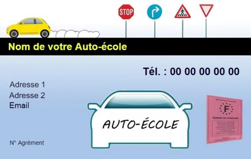 Modele Auto Ecole Exemple Carte De Visite Pas Cher A Personnaliser En Ligne Gratuitement Imprimer Chez Soi Permis Conduire