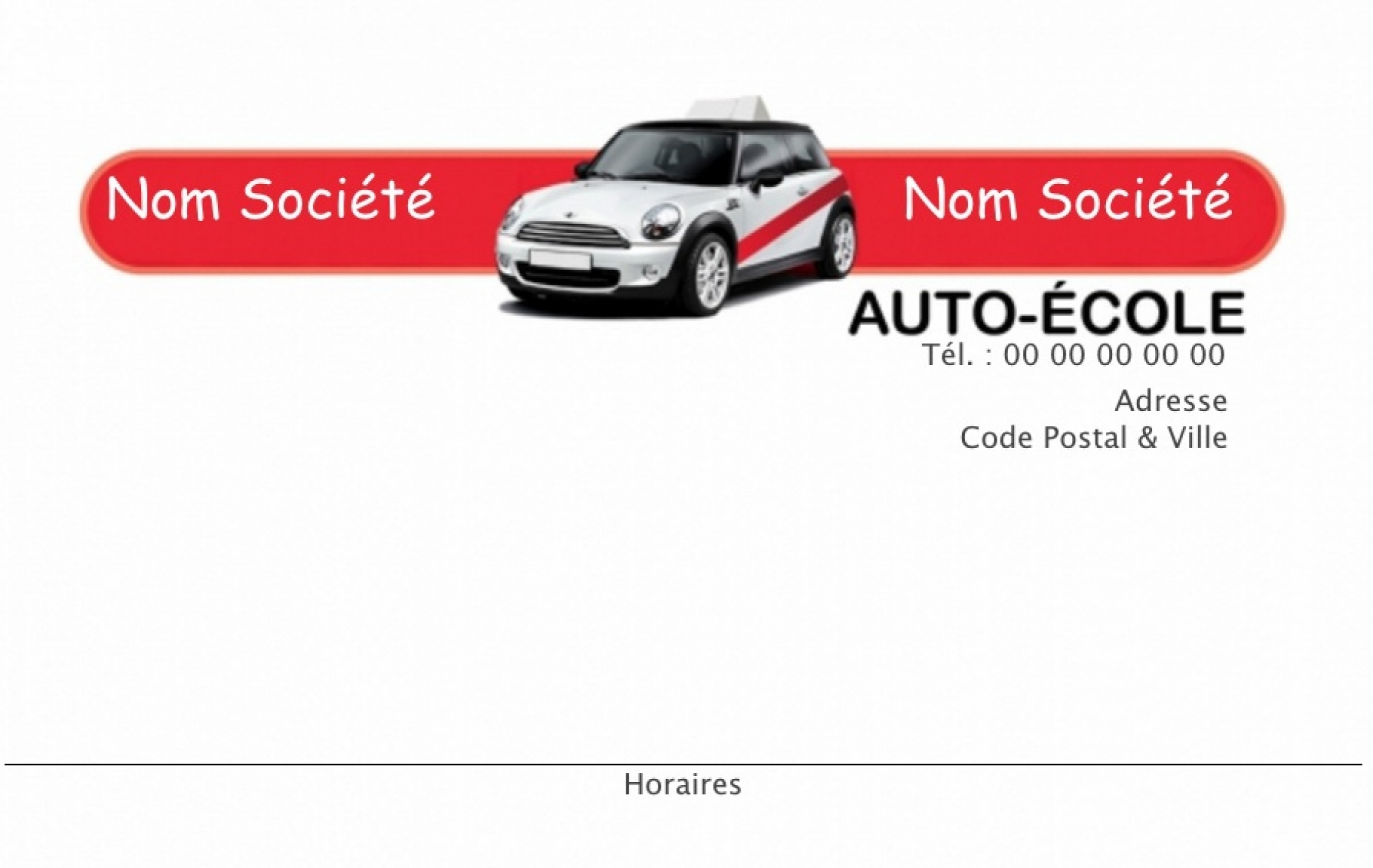 Auto Ecole Carte De Visite Modele Moderne Gratuit Avec Impression Pas Chere Ou Telechargement