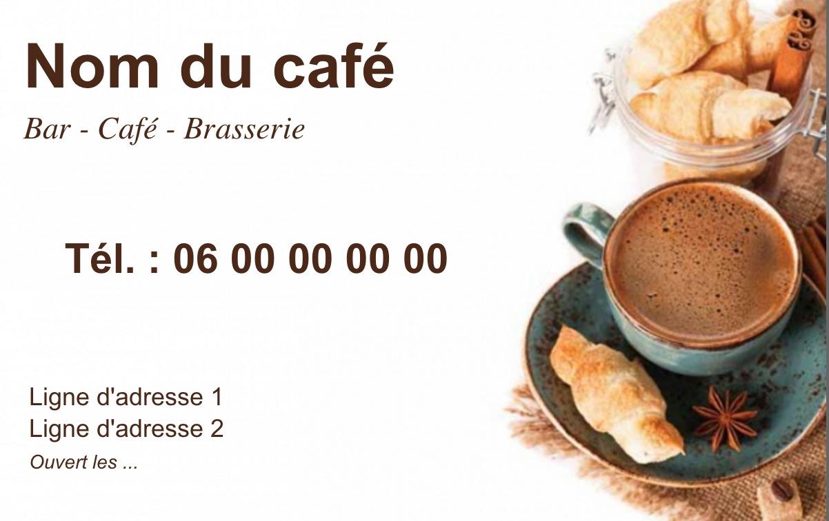 Exemple Et Modele De Carte Visite Cafe Restaurant A Personnaliser En Choisissant Un Gratuit Fond Avec Croissants