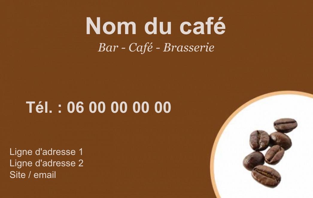 Exemple Et Modle De Carte Visite Caf Restaurant Personnaliser En Choisissant Un Gratuit Fond Brun