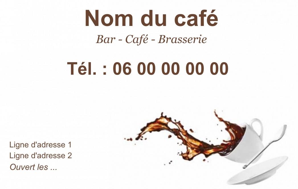 Exemple Et Modele De Carte Visite Cafe Restaurant A Personnaliser En Choisissant Un Gratuit Fond Avec Tasse Renversee