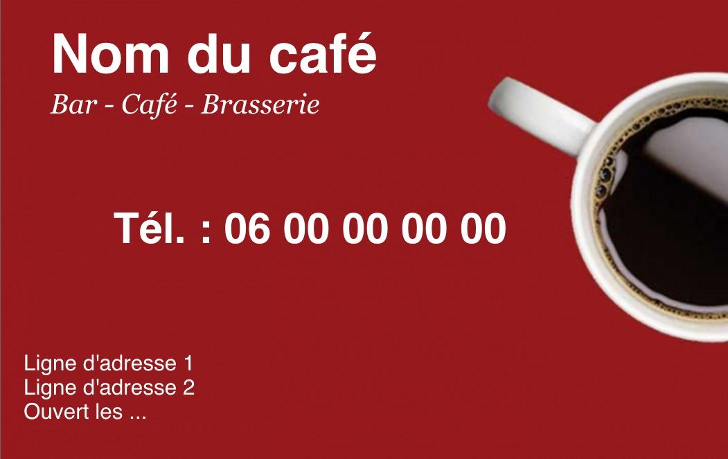 Exemple Et Modele De Carte Visite Cafe Restaurant A Personnaliser En Choisissant Un Gratuit Fond Rouge