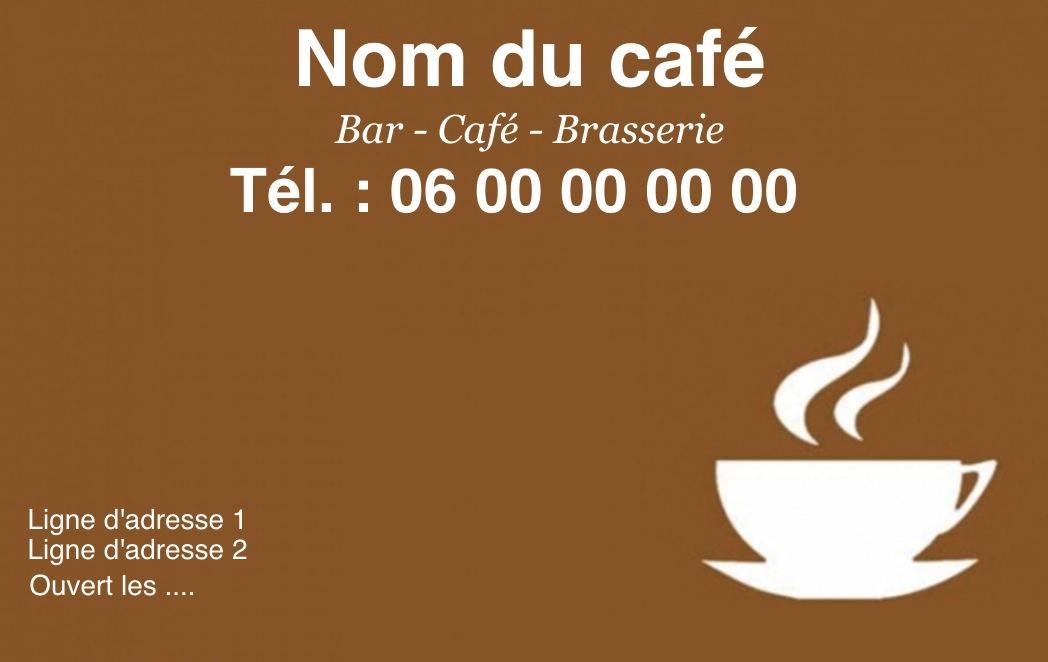 Exemple Et Modle De Carte Visite Caf Restaurant Personnaliser En Choisissant Un Gratuit Fond Marron Avec Tasse