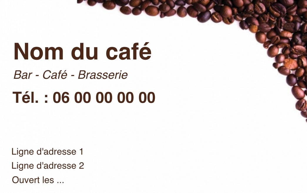 Exemple Et Modele De Carte Visite Cafe Restaurant A Personnaliser En Choisissant Un Gratuit Fond Blanc