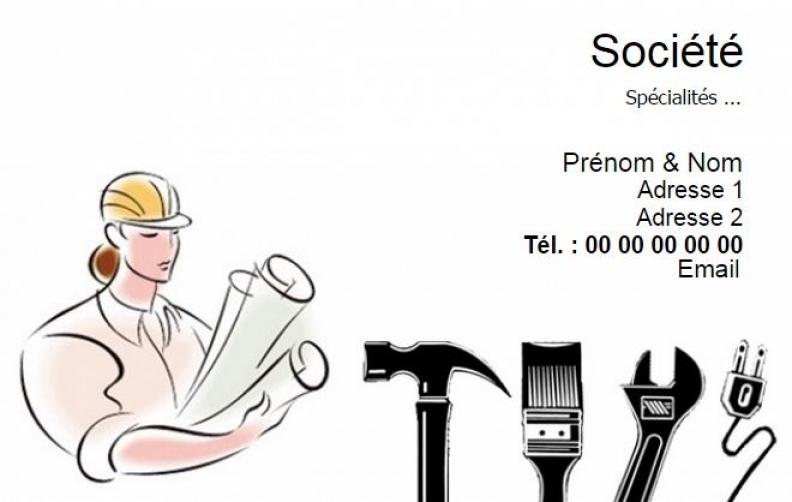 BModele Carte De Visite Professionnelle B MultiService Construction Travaux Publics Exemple