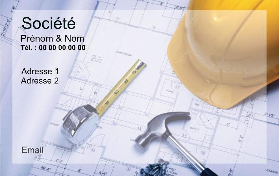 Contruction Carte De Visite Pour Professionnel Batiment Modele Gratuit Avec Impression Pas Chere Ou Telechargement