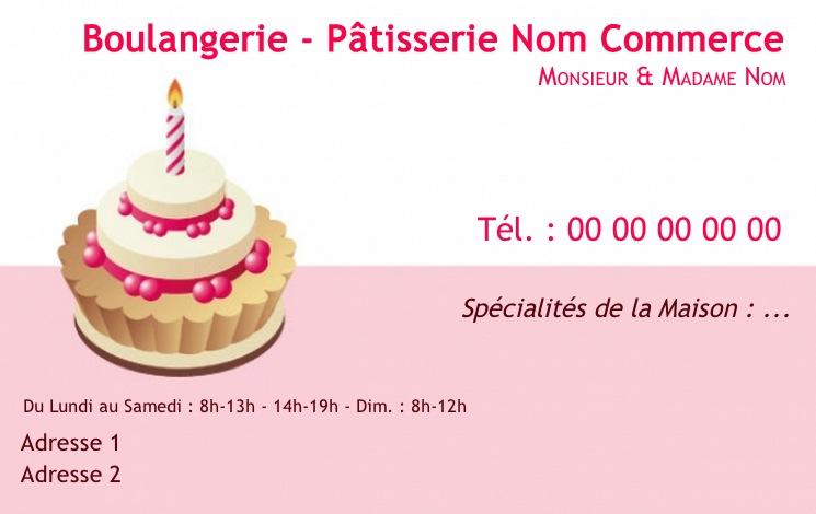 Modele Boulangerie Et Patisserie Carte De Visite Pour Commerce Boulanger Patissier Gratuit Avec Impression Pas Chere Ou