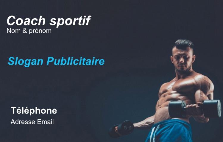 Carte De Visite Coach Sportif Professionnel Personnal Sport Trainer Fitness Musculation Et Metier Du Modele Gratuit En Ligne A Personnaliser