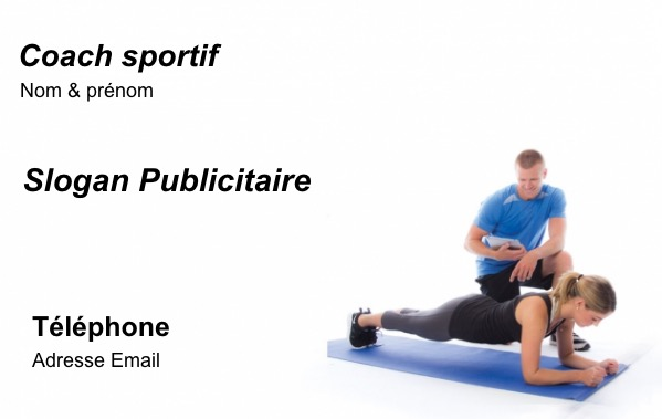 carte de visite coach sportif trainer professionnel mod le gratuit. Black Bedroom Furniture Sets. Home Design Ideas