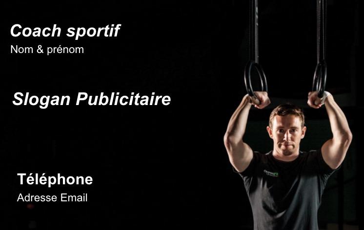 Soutient Sportif Coach Entraineur Ou Metier Professionnel Dans Le Domaine Du Sport Carte De Visite Modele Gratuit En