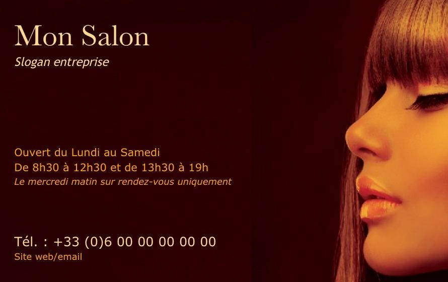 Modele Gratuit Carte De Visite Salon Coiffure Professionnelle A Imprimer Chez Soi Design Avec Profil Femme Orangee Ambiance Pour