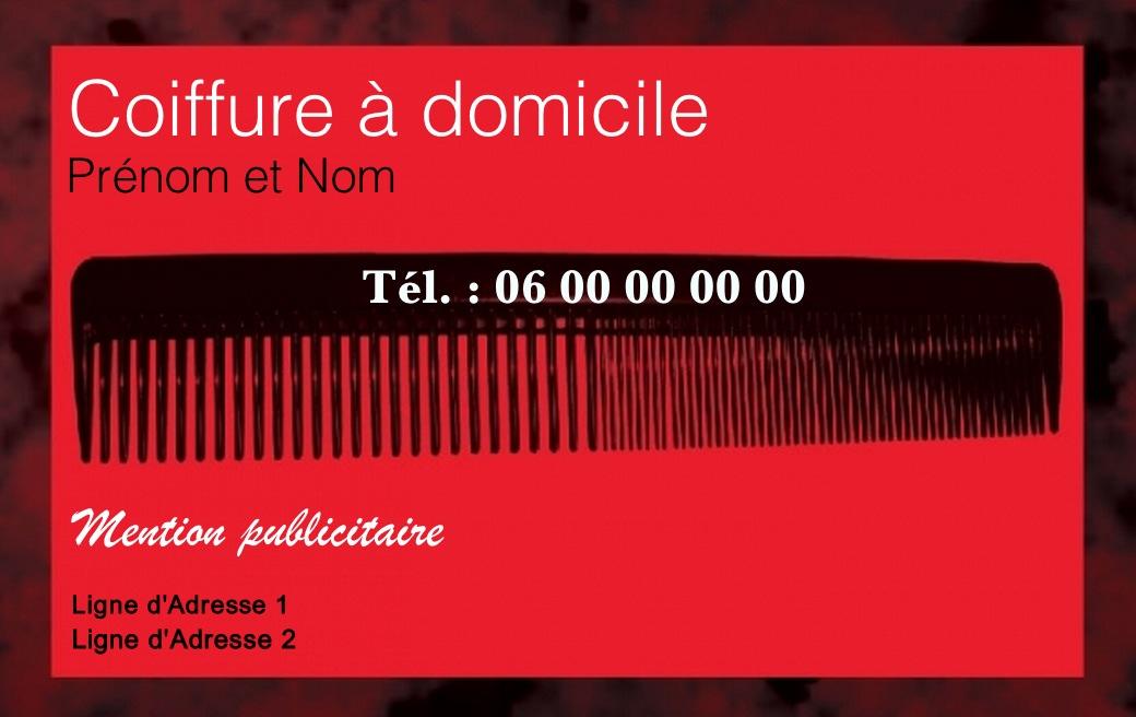Modele Gratuit Carte De Visite Coiffure A Imprimer Design Avec Fond Rouge Et Silhouette Peigne Ambiance Pour Salon Domicile