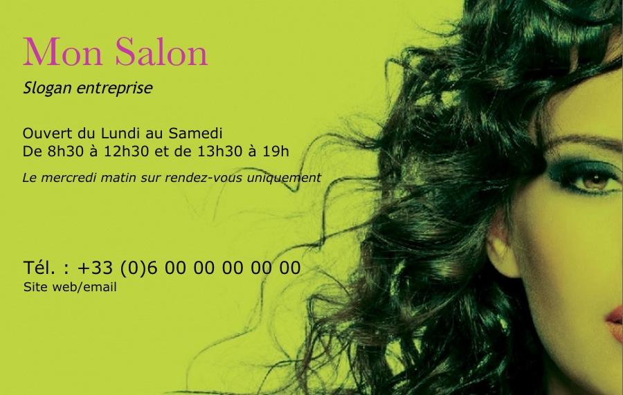 Modle Gratuit Carte De Visite Salon Coiffure Professionnelle Moderne Imprimer Design Avec Belle Photo Verte Ambiance Pour Domicile
