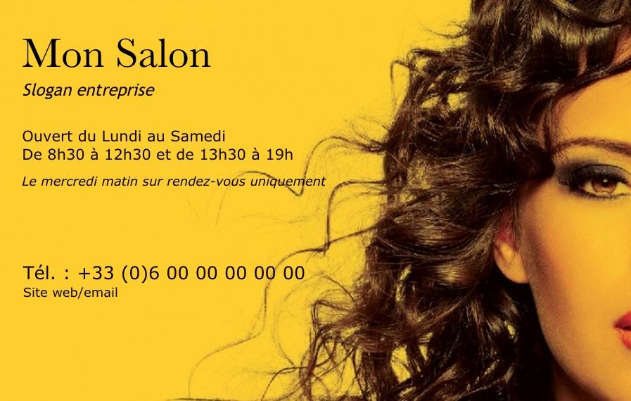 carte de visite coiffure mod le gratuit imprimer design ocre