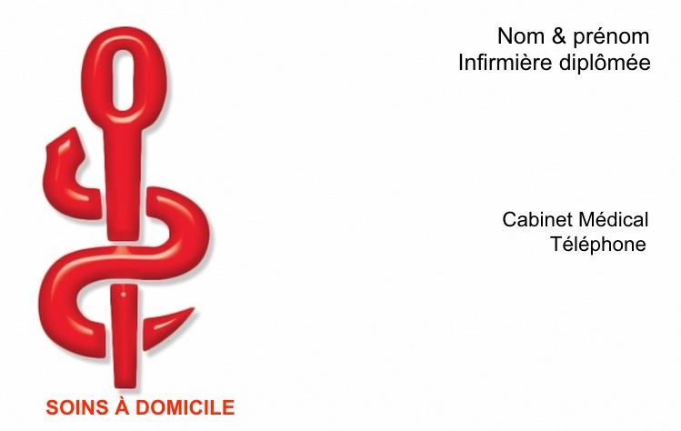 Favori Exemple Carte de visite Infirmière Libérale | Caducée Rouge WI46