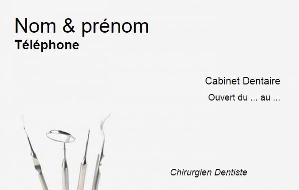 carte de visite dentiste mod le cabinet dentaire gratuit en ligne. Black Bedroom Furniture Sets. Home Design Ideas