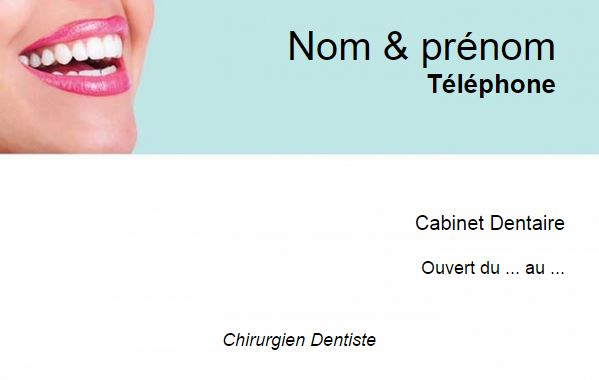 Carte De Visite Dentiste Modle Fond Sourire Gratuit Imprimer