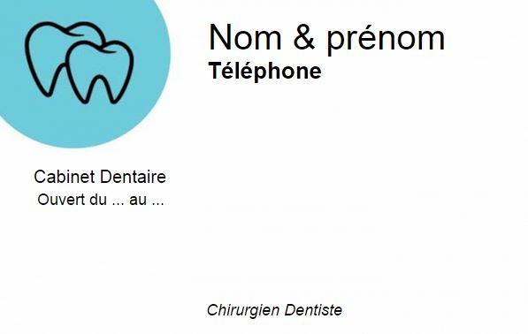 Professionnel De Sante Dentiste Et Chirurgien Dentaire Exemple Carte Visite Professionnelle Modele Pas Cher A Personnaliser En Ligne Gratuitement