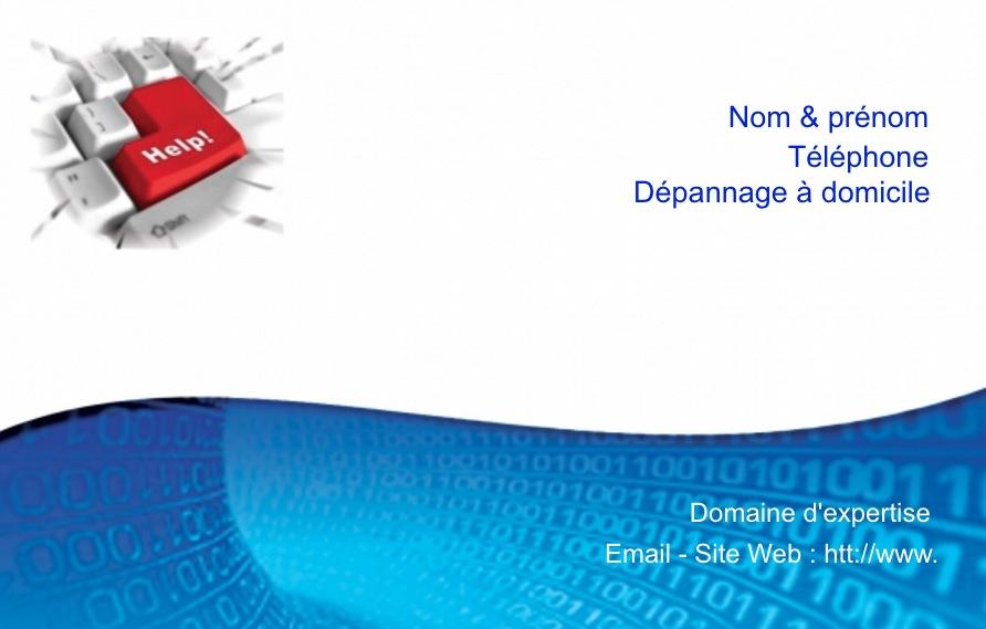 Carte De Visite Informatique Mod Le Gratuit Gratuite Sans Frais Port