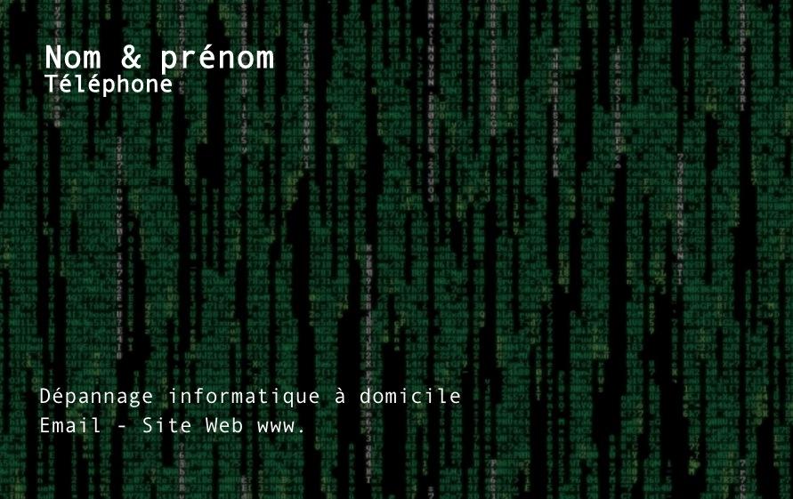 Exemple De Modele Carte Visite Informatique A Personnaliser En Choisissant Un Gratuit Fond Noir Avec Binaire
