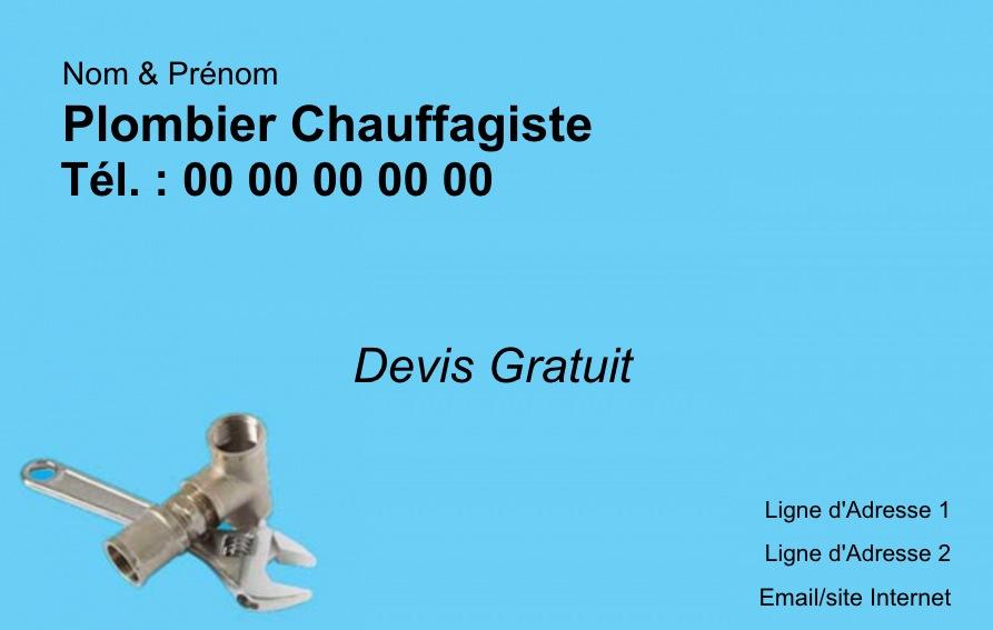 Modle Carte De Visite Plombier Chauffagiste Personnaliser Gratuitement En Ligne Impression Pas Cher