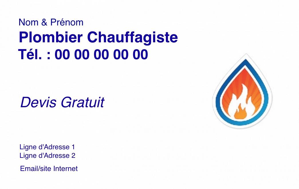 Exemple Et Modle Gratuit Carte De Visite Plombier Chauffagiste Avec Logo Personnaliser En Ligne Impression Pas Chre Design