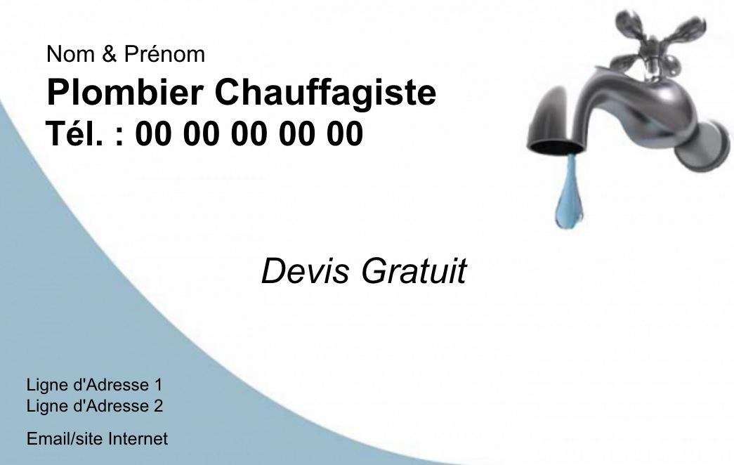 Modle Et Exemple Gratuit Carte De Visite Plombier Chauffagiste Personnaliser Chez Soi Impression Pas Cher