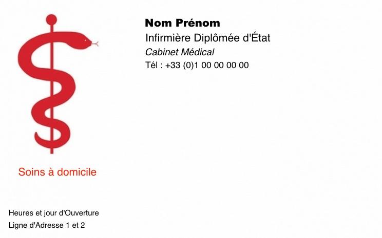 Grande Carte De Visite Pour Professionnel Sant Infirmire Librale Domiclile Cabinet Infirmerie Design Avec Caduce Rouge