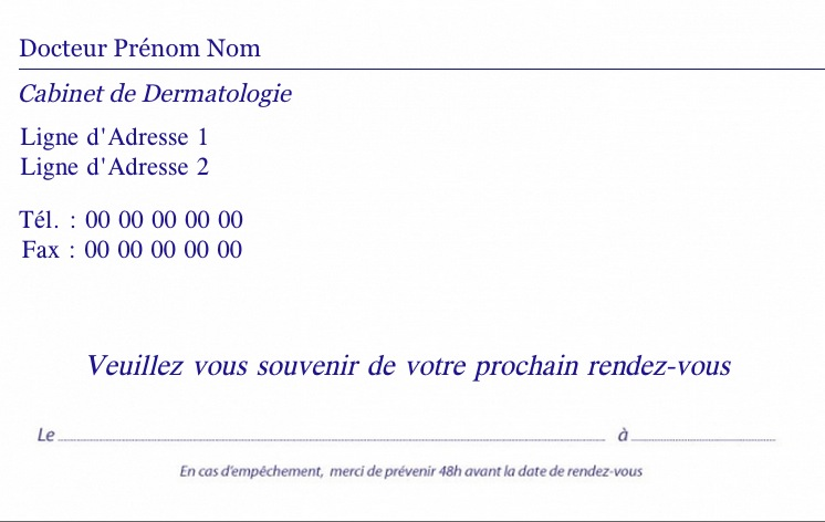 Dermathologues Carte De Rendez Vous Mdicale Personnalisation Modle Gratuit Commander En Ligne