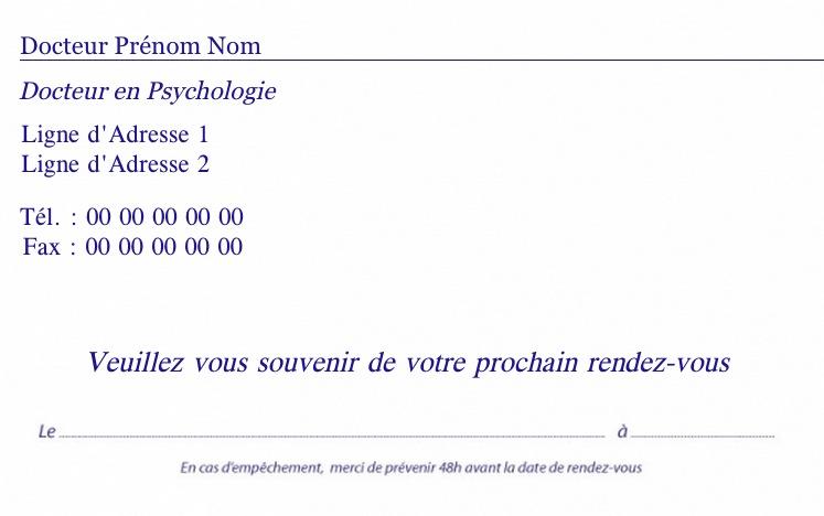 Medecins Psychologue Exemple Carte De Rendez Vous Personnalisation Modele Gratuit A Commander En Ligne